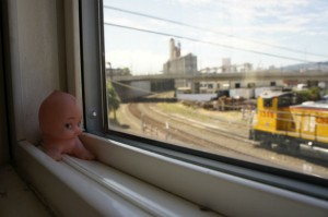 Baby near the double-pane train