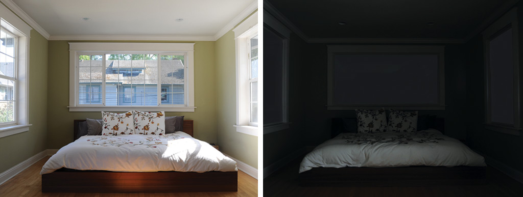 This window blackout solution blocks 100% of light, 50% of noise