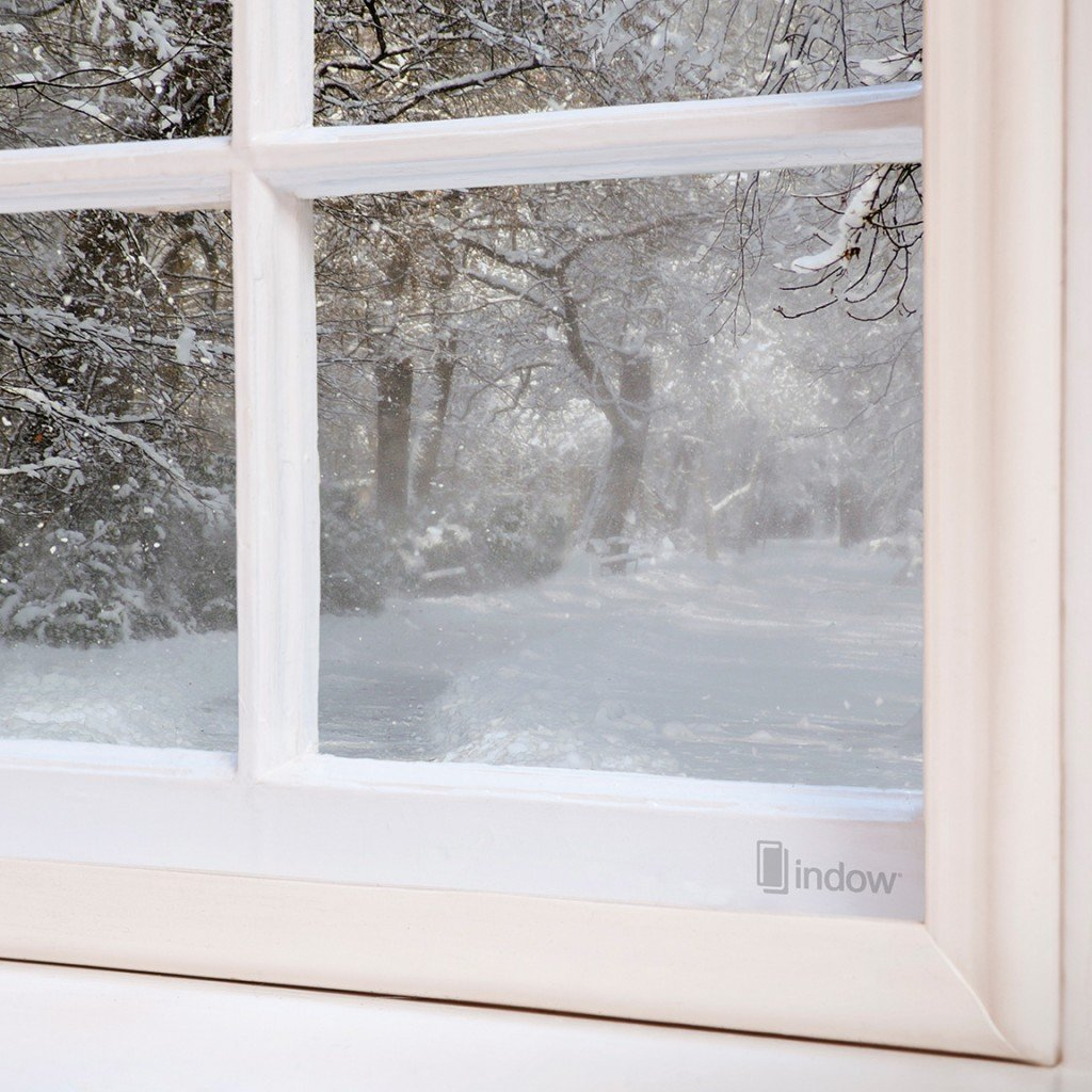 Looking out on a snowy Minnesota through an Indow window insert.