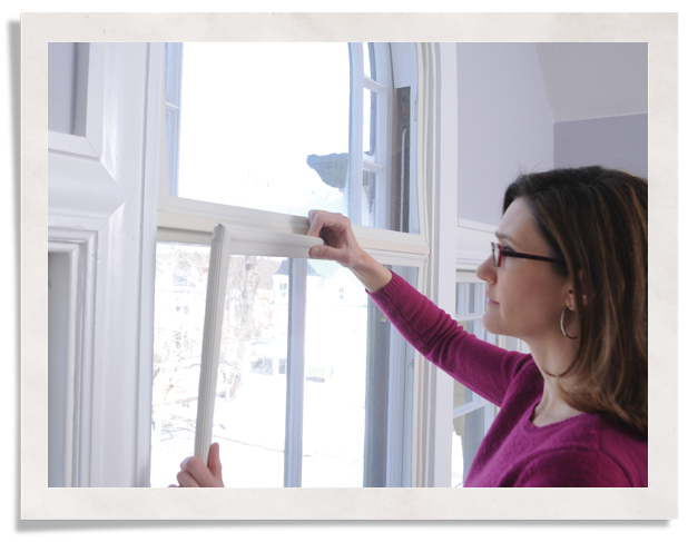 Indow inside storm windows press into place without a mounting bracket