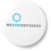 We Hire Refugees badge refugee support initiative created by Indow