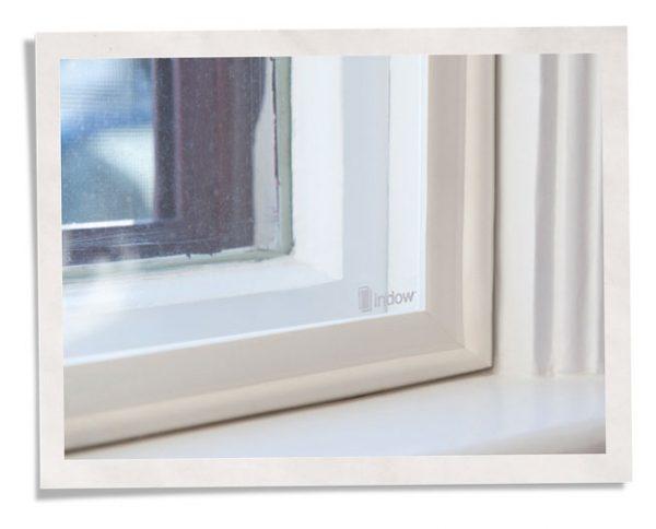 closeup of window insert used to seal window drafts