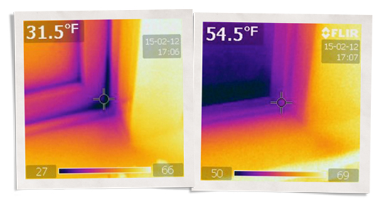 thermal gun images showing one window at 31.5 degrees, one window with Indow insert insulating double pane window at 54.5 degrees