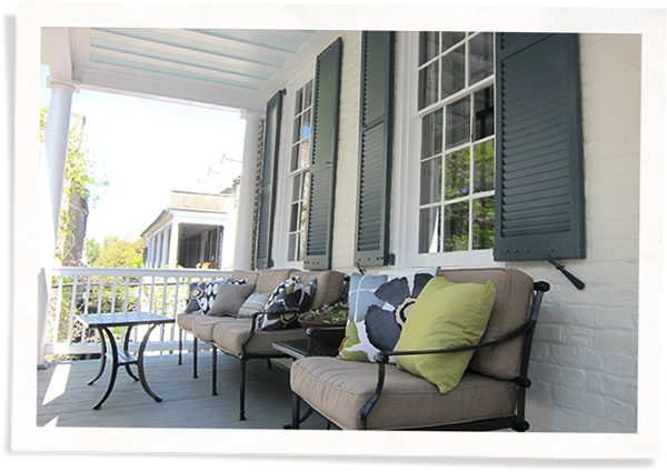 front porch with large windows and an alternative to magnetic storm windows