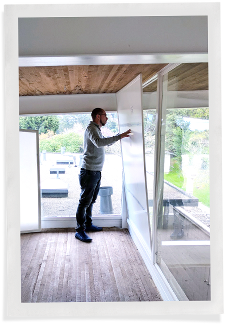 Customer easily presses Indow window insert into large window without magnetic window insulation