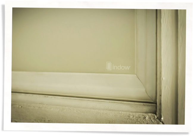 closeup of Indow window insert - a window privacy covering