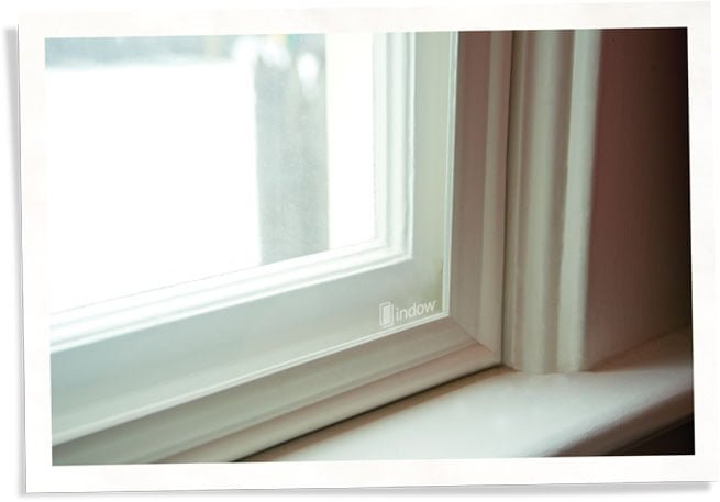 closeup of Indow window insert, thermal window replacement alternative