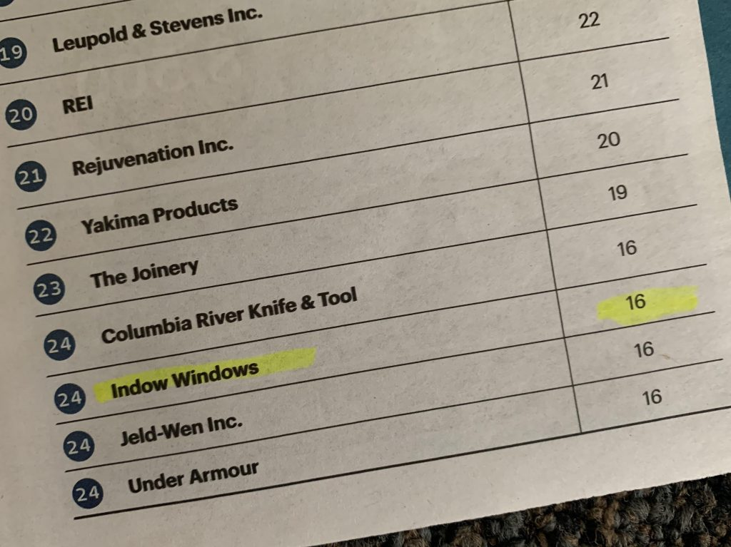 Newspaper article listing Indow as 24th in Oregon's Most Admired Companies