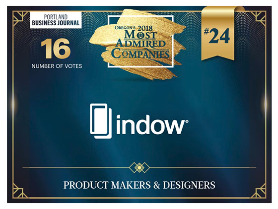 Award for Indow One of Oregon's Most Admired Companies