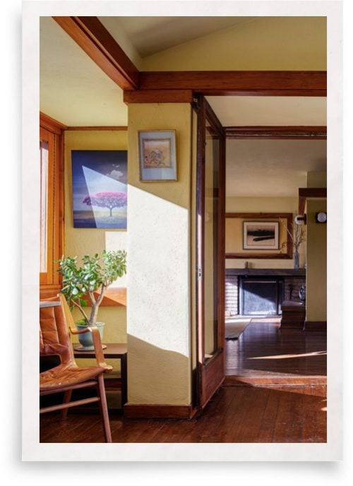 inside Frank Lloyd Write home with Indow inserts which improve window insulation