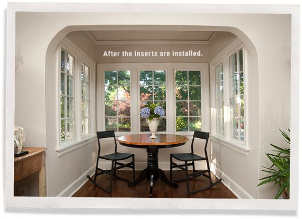breakfast nook with many windows before indow inserts have been installed