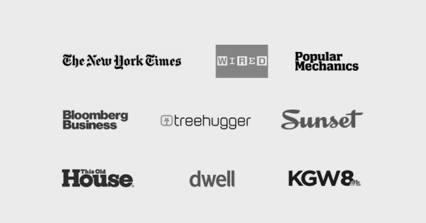 logos of newspapers and magazines that have featured Indow window inserts