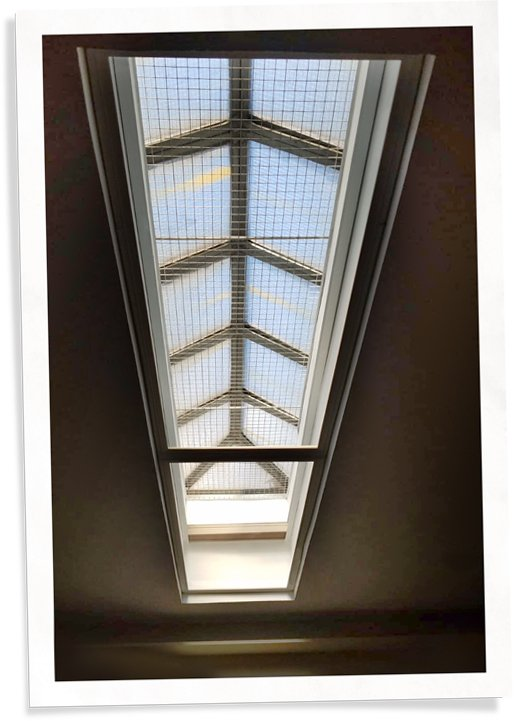 skylight window insert installed in ceiling for heat loss and noise blocking