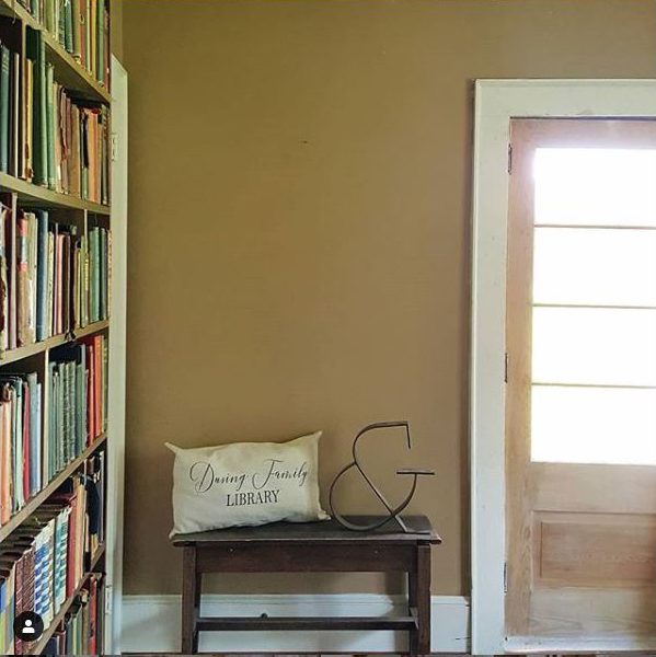 old farmhouse remodel of library room in progress