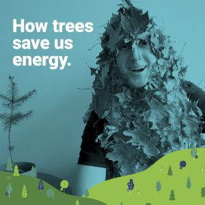 man dressed as a pile of leaves explains how tree donations help with energy savings