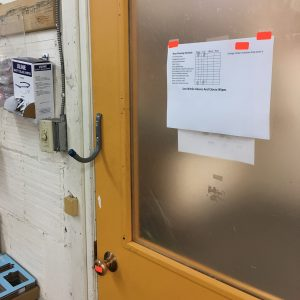 door with hook over doorknob to avoid transmission point for COVID-19