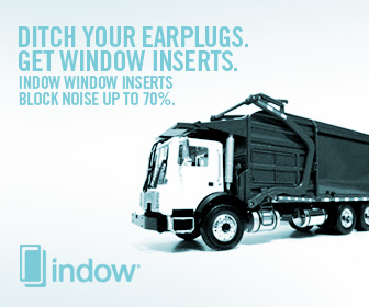 """garbage truck with text: """"ditch your earplugs. get window inserts. indow window inserts block noise up to 70%."""""""