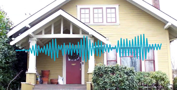 outside of house with sound waves to represent neighbors playing loud music during the day
