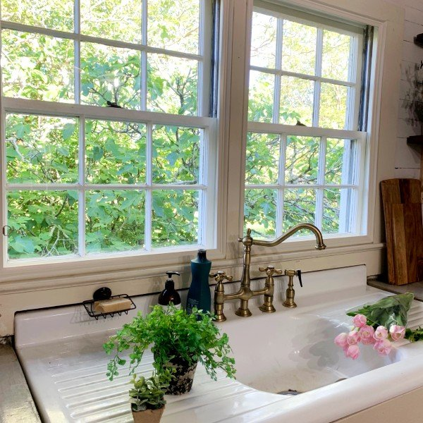 Indow window inserts in farmhouse remodel