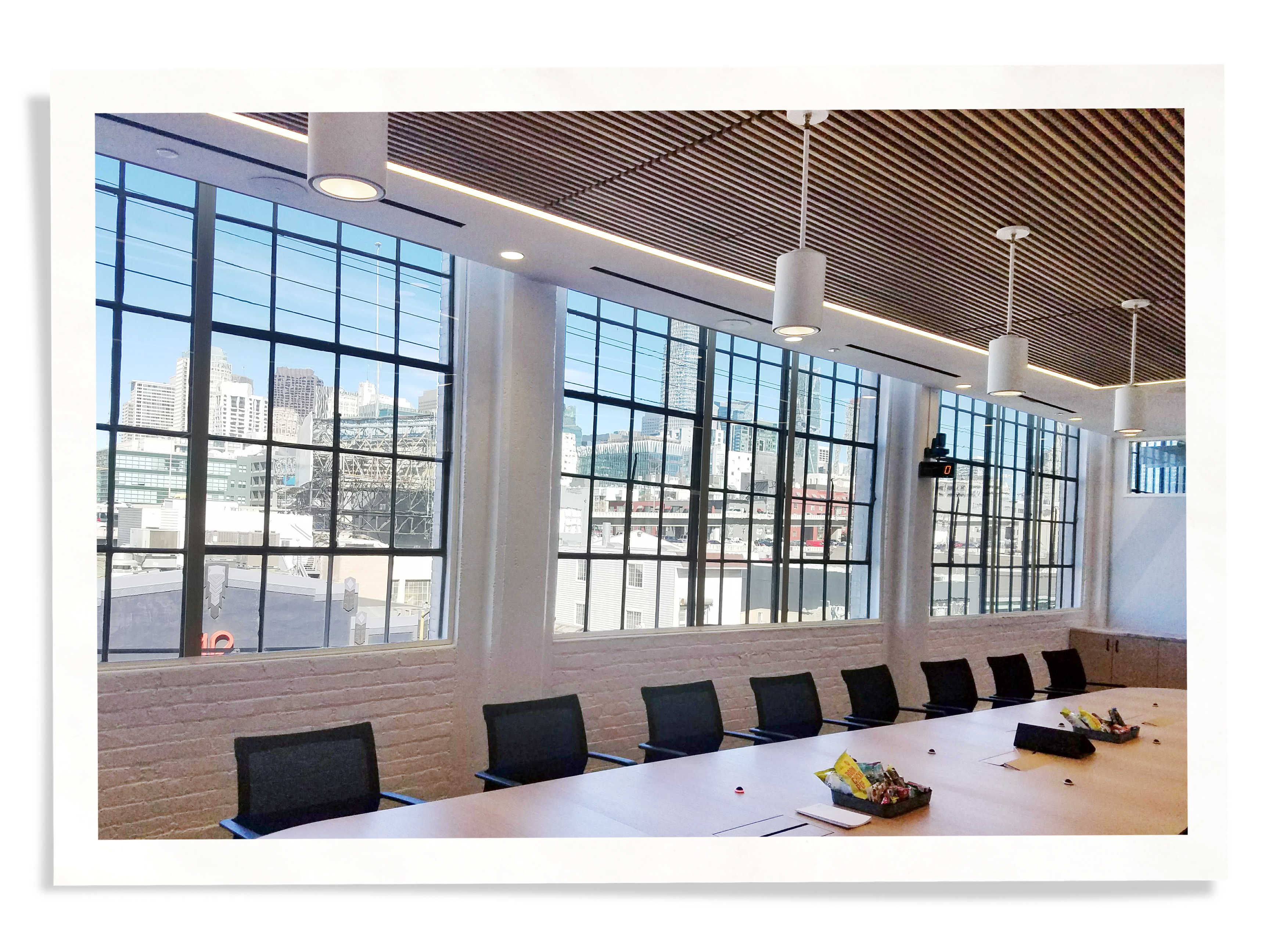 conference room with Indow window inserts for soundproofing commercial spaces