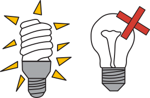 switch to LED and CFL light bulbs to save energy in the winter