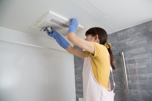 woman replacing air filter as air quality solutions
