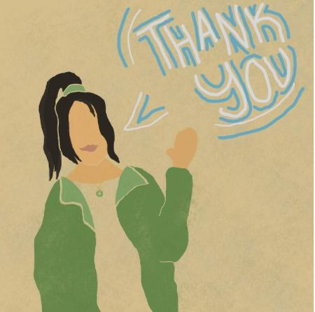 self created illustration of Indow Community Engagement Intern expressing gratitude