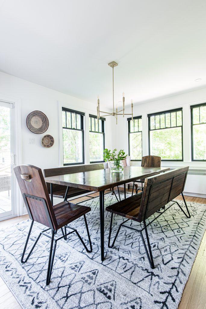 dinning room with efficient lighting fixture