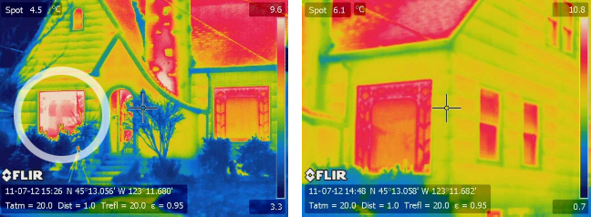 Thermal imaging of home window before and after Indow insert: plexiglass keeps in heat